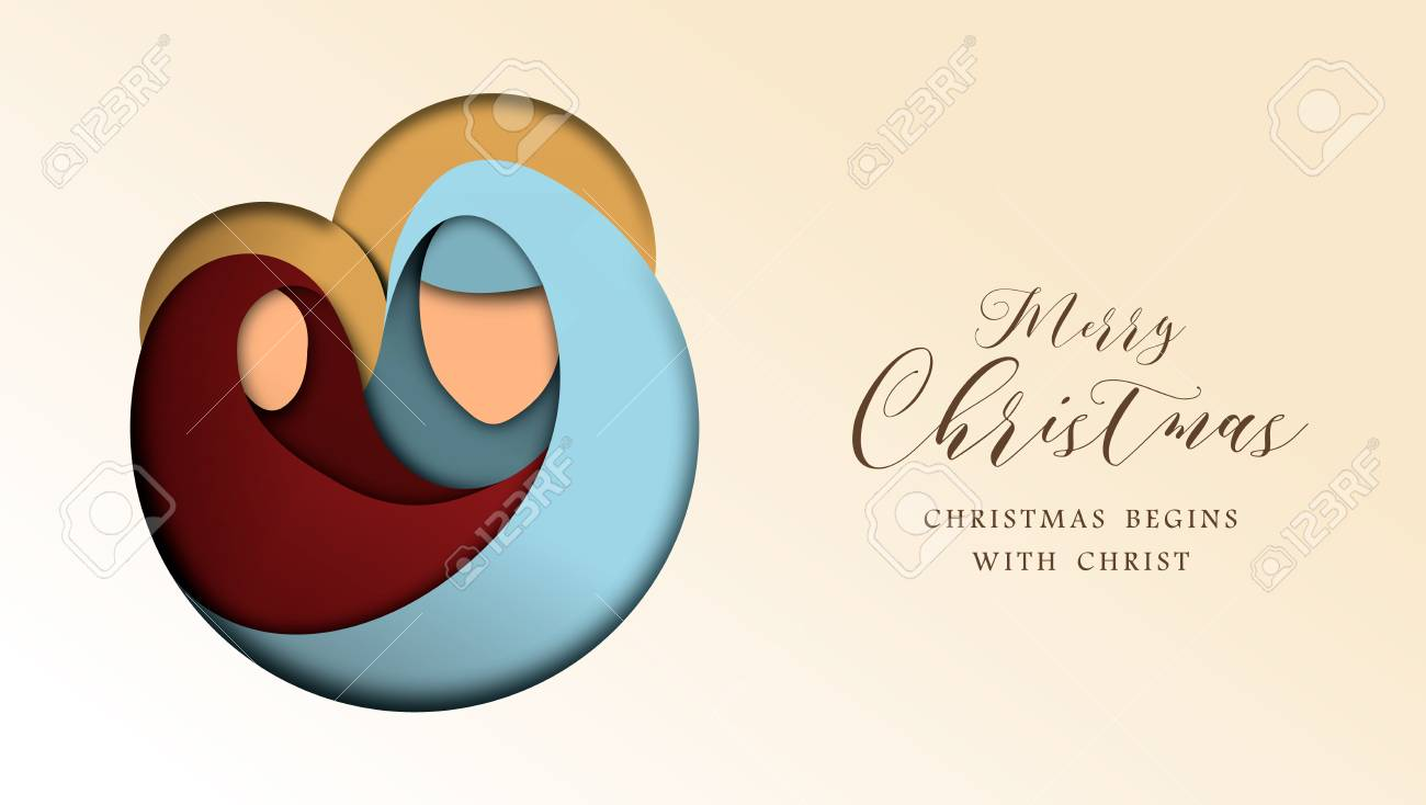 Merry Christmas 3d Paper Cut Greeting Card With Religious ...
