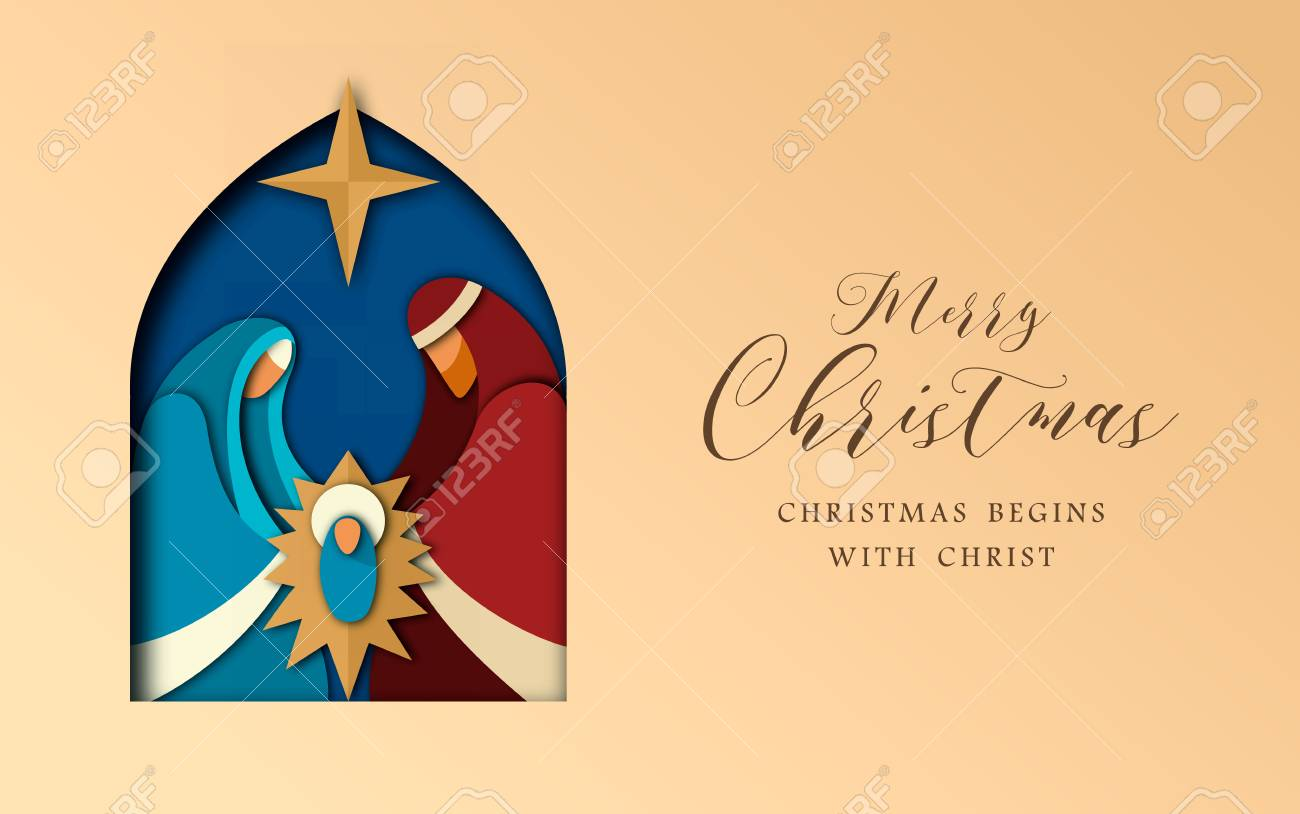 Religious Christmas Card Designs.Merry Christmas Greeting Card Holy Family Illustration In Modern