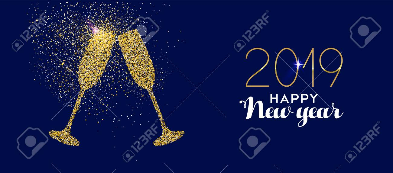 happy new year 2019 gold champagne glass celebration toast made of realistic golden glitter dust