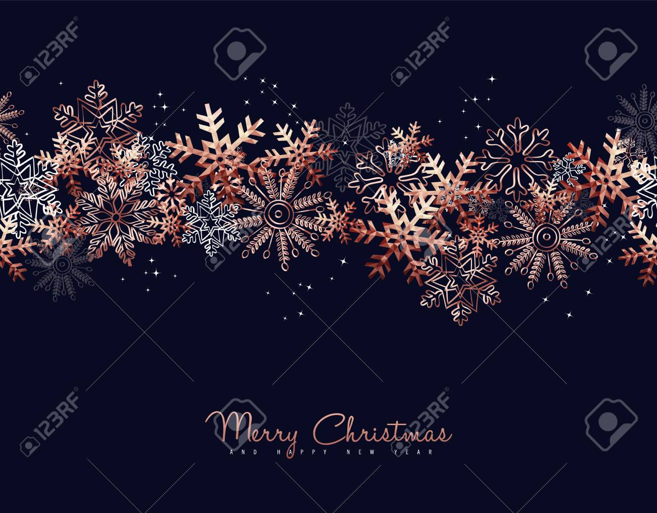 Merry Christmas greeting card design with copper snowflake pattern background for winter holiday season. - 111831457