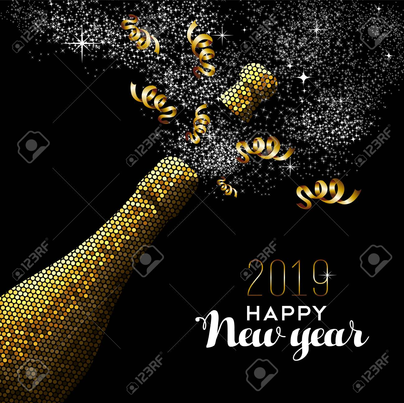 Happy new year 2019 luxury gold champagne bottle in mosaic style. Ideal for holiday card or elegant party invitation. - 113543093