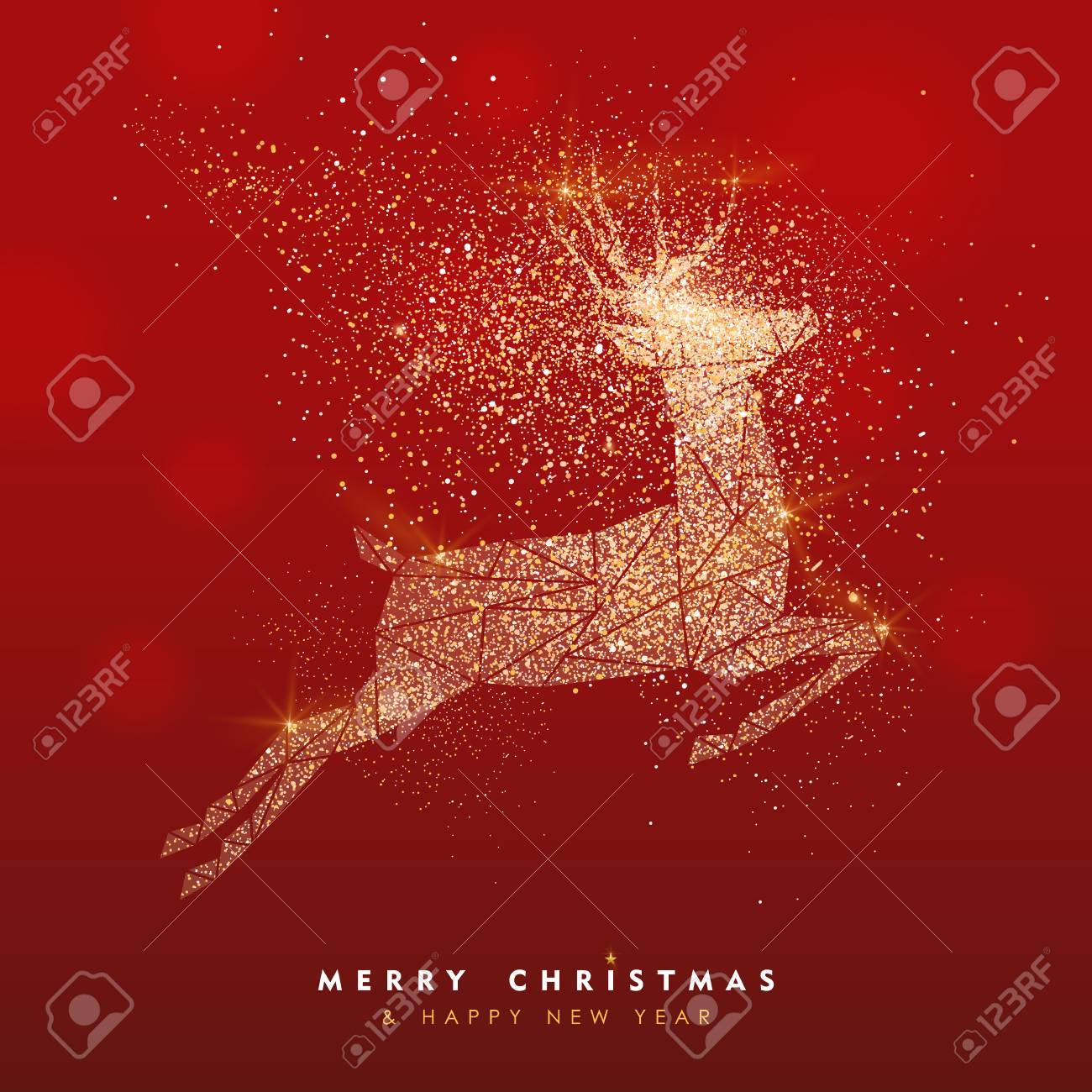 Merry Christmas and Happy New Year luxury greeting card illustration, xmas jumping reindeer in gold glitter texture on festive red bokhe lights background with holiday text quote. - 113543145
