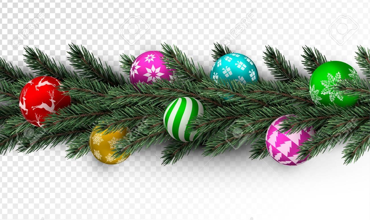 Christmas Pine Garland.Realistic Christmas Pine Tree Wreath Garland With Colorful Xmas