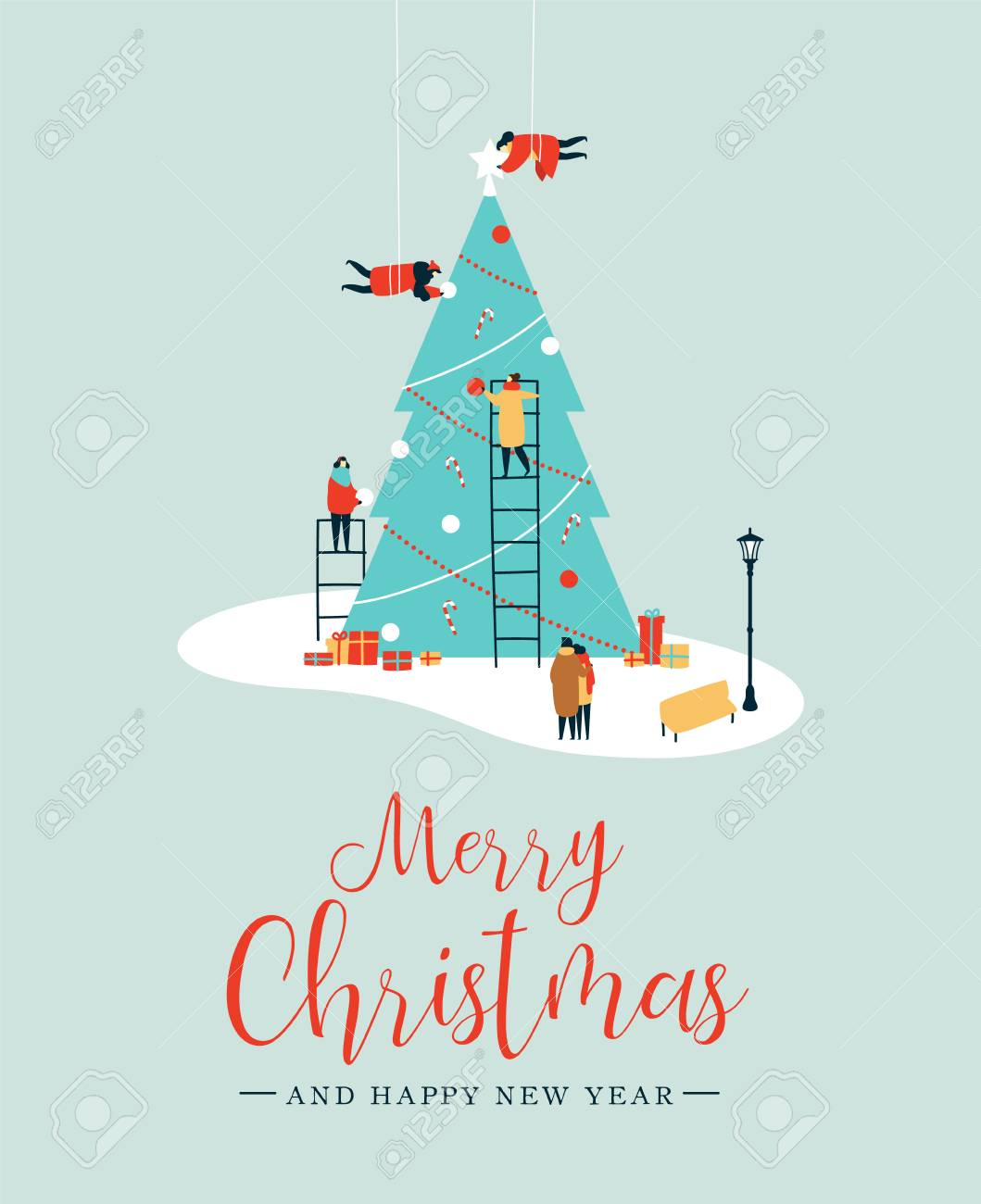 Merry Christmas and Happy New Year greeting card, People group making big xmas pine tree together for holiday season with ornament decoration, gifts. EPS10 vector. - 113543263
