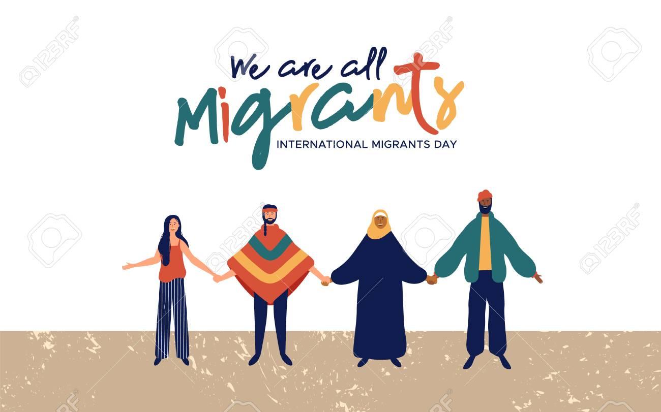 International Migrants Day background illustration, diverse people group from different cultures together for globla migration or refugee help concept. - 113543322