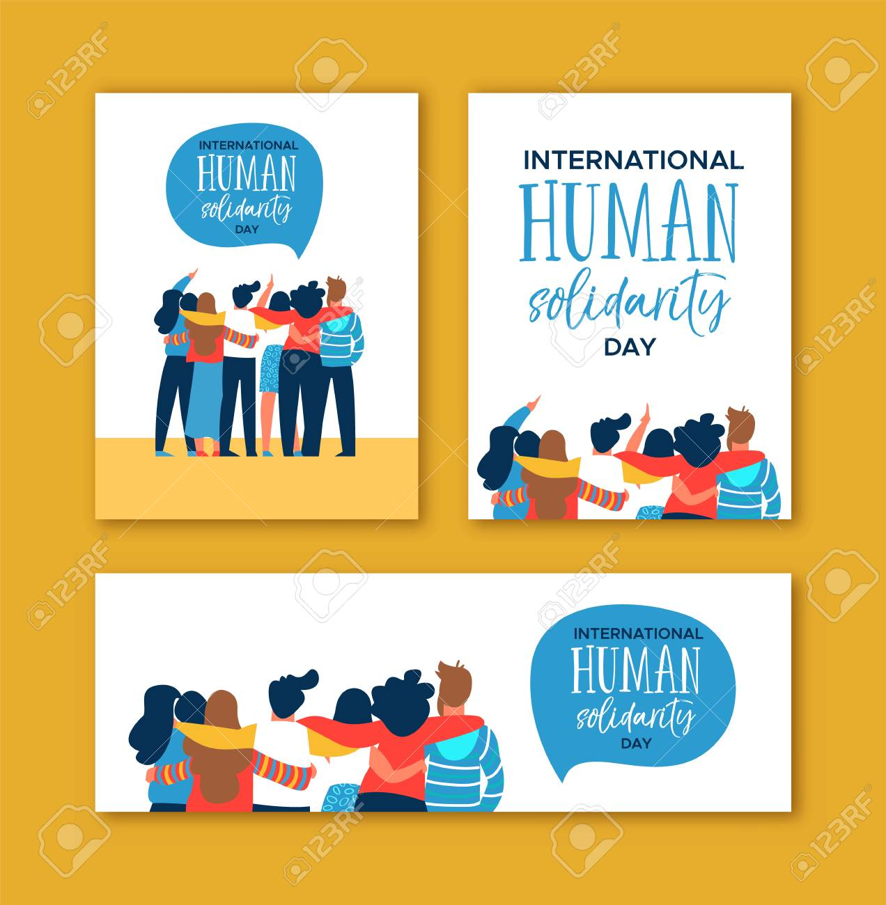 International Human Solidarity Day card set of diverse friend group from different cultures hugging together for community help, social equality concept. - 114114298
