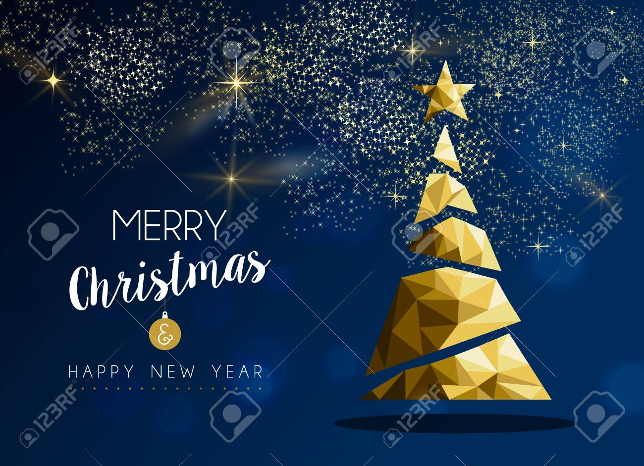 Merry christmas and happy new year gold pine tree in hipster triangle low poly style on blue background. Xmas greeting card or elegant holiday party invitation. - 114114315
