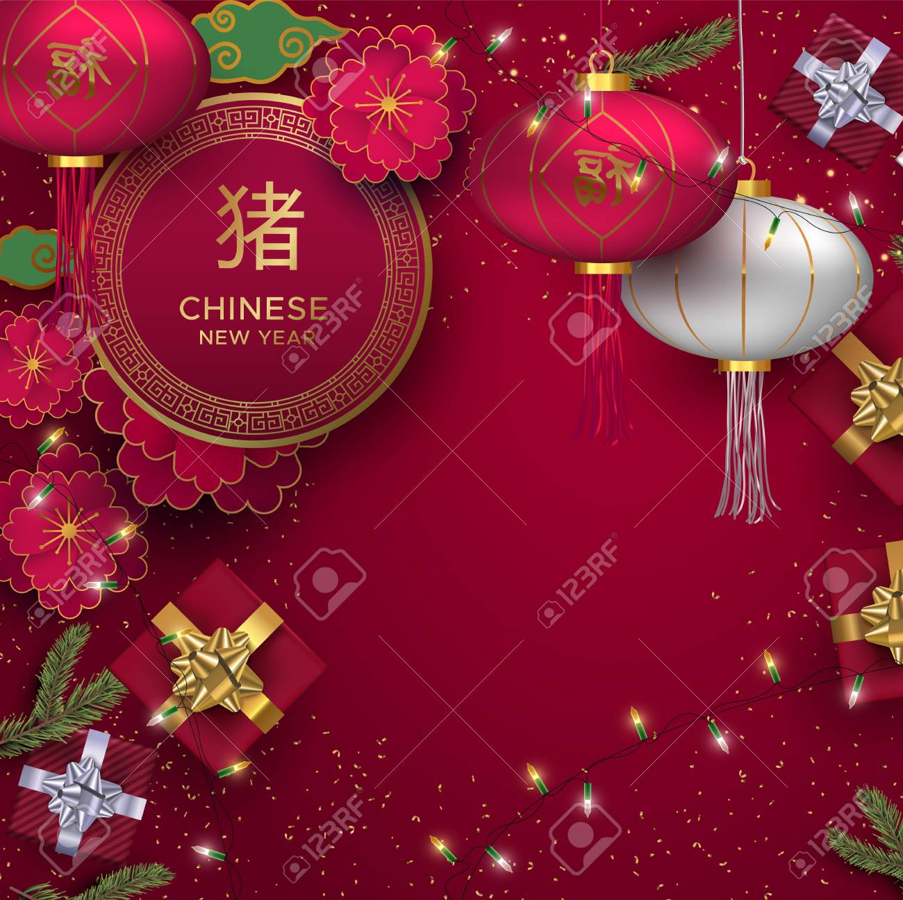 Chinese New Year Illustration Traditional 3d Holiday Celebration