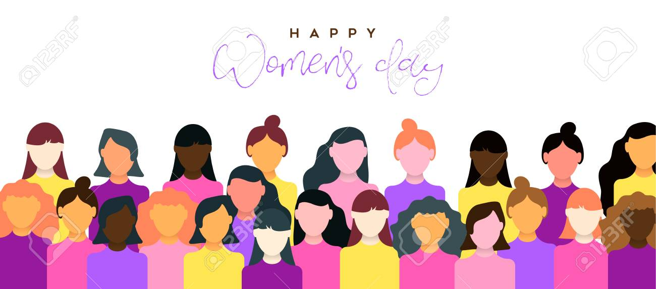 Happy Womens Day illustration of March 8th celebration. Women community together for equal rights support. - 122042114