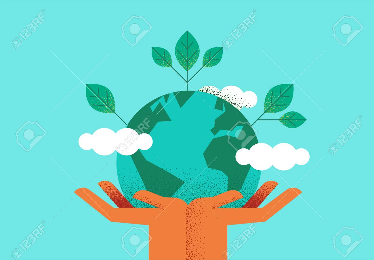 Human hands holding planet earth with green leaves for eco friendly concept. Environment care or nature help illustration. - 122042178