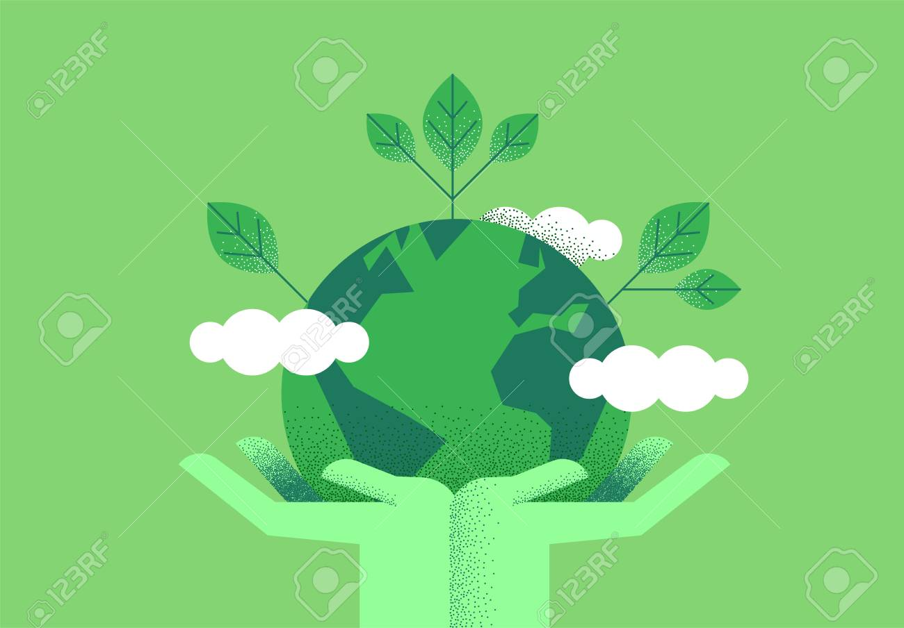Human hands holding planet earth with green leaves for eco friendly concept. Environment care or nature help illustration. - 119479810