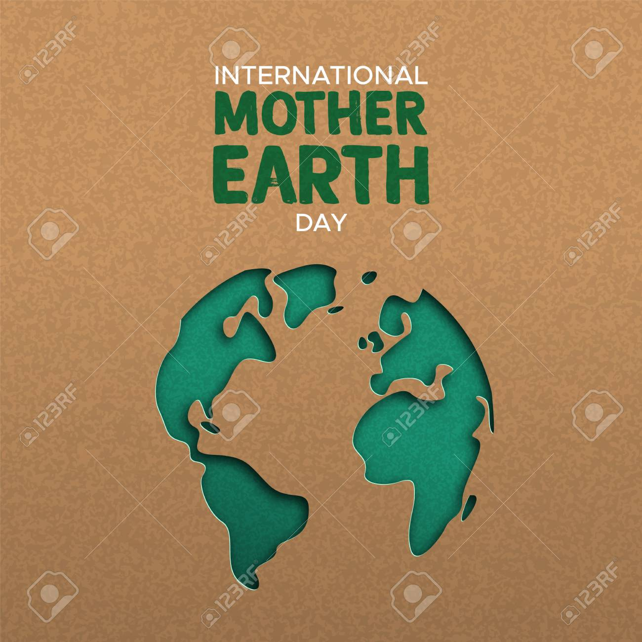International Mother Earth Day illustration of green papercut world map. Recycled paper cutout for planet conservation awareness. - 122042261