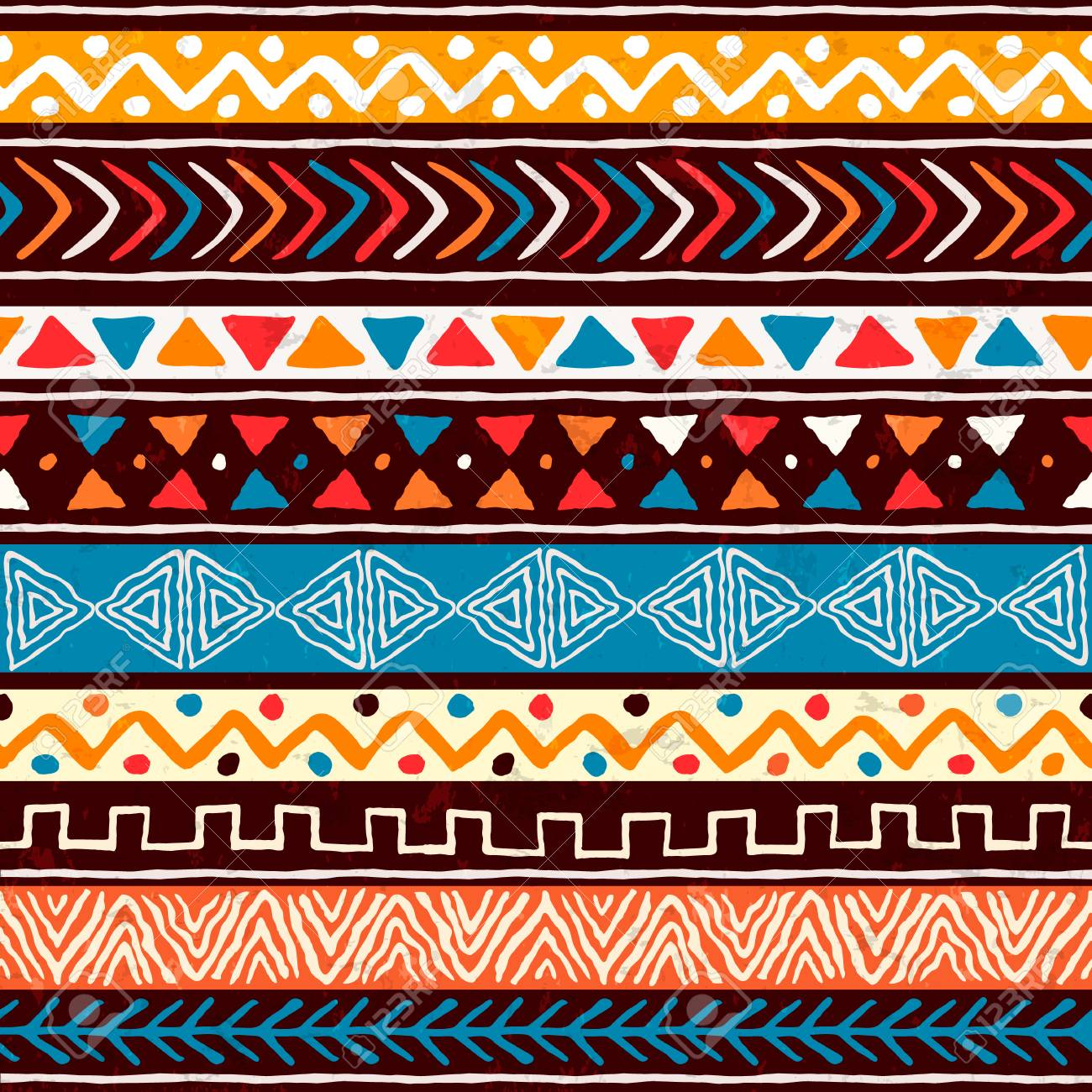 Abstract african art style seamless pattern. Hand drawn tribal decoration background with boho doodle shapes and ethnic symbols. - 130838494
