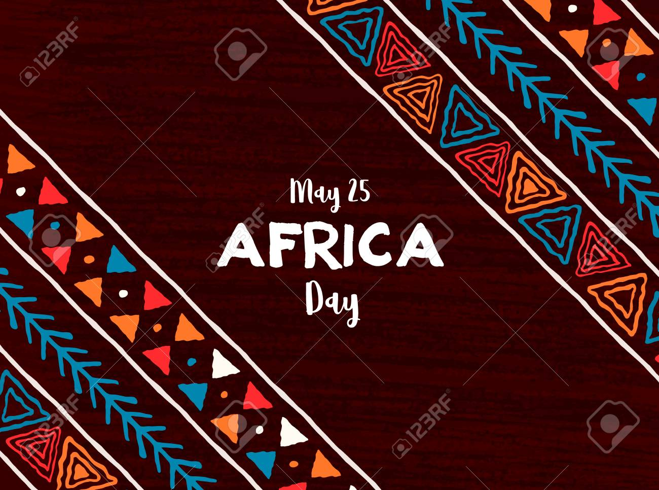 May 25 Africa Day greeting card illustration with traditional tribal hand drawn art for african freedom holiday. - 122582258