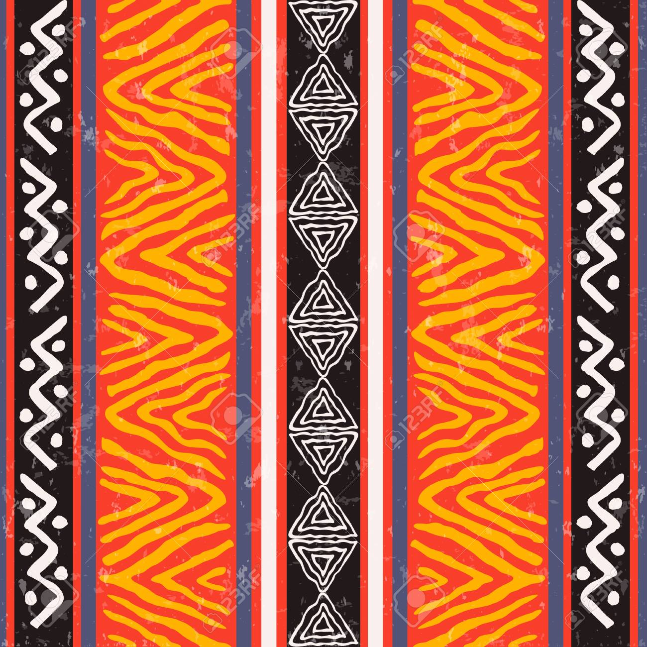 African art seamless pattern illustration with colorful tribal decoration. Wild boho background design. - 122582302