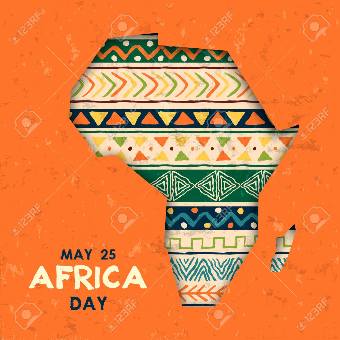 Africa Day greeting card illustration for 25 may celebration. African continent papercut map with traditional tribal art decoration. - 122582308
