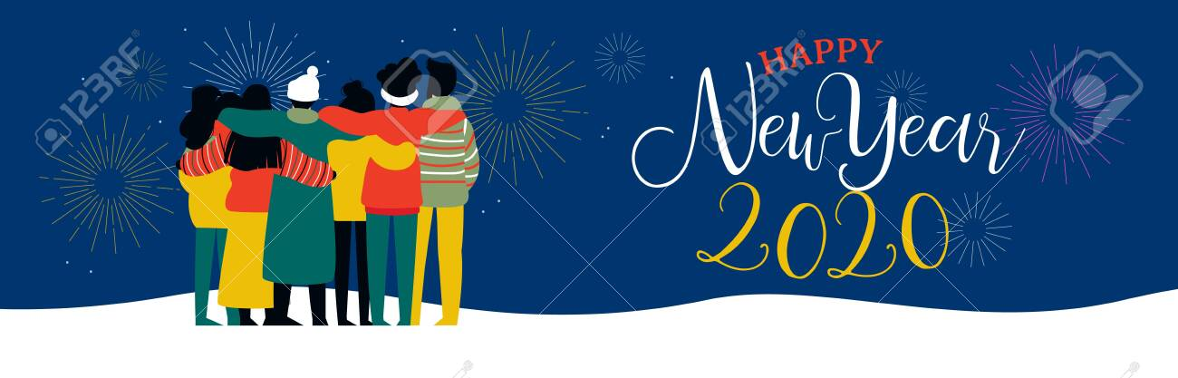 Happy New Year 2020 bannerillustration of young people friend group hugging together with fireworks in night sky. Diverse culture friends team celebrating. - 130838699