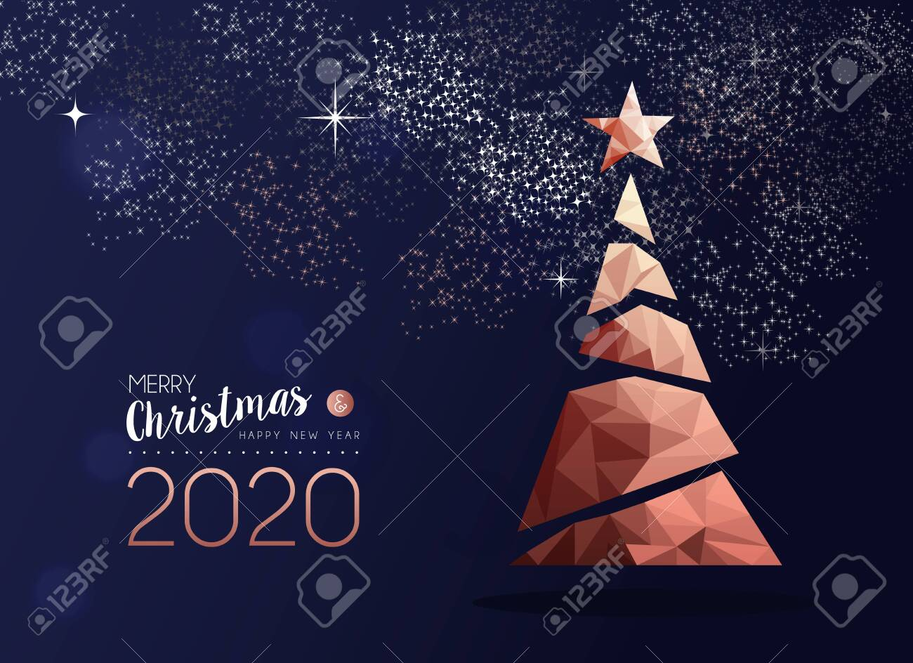 Merry Christmas And Happy New Year 2020 Copper Pine Tree In