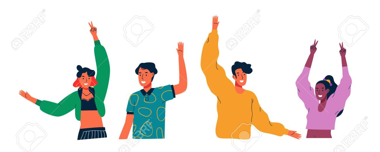 Diverse young people group waving hello and raised arms on isolated white - 128009988