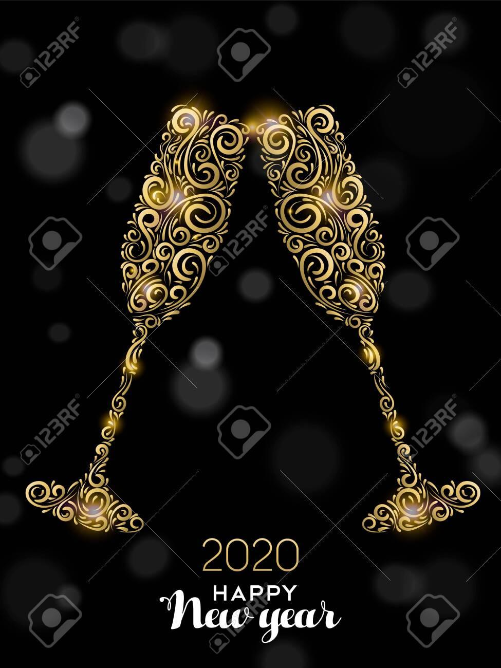 Happy New Year 2020 greeting card illustration. Luxury gold glass drinks making celebration toast on black background for elegant holiday event. - 130839032