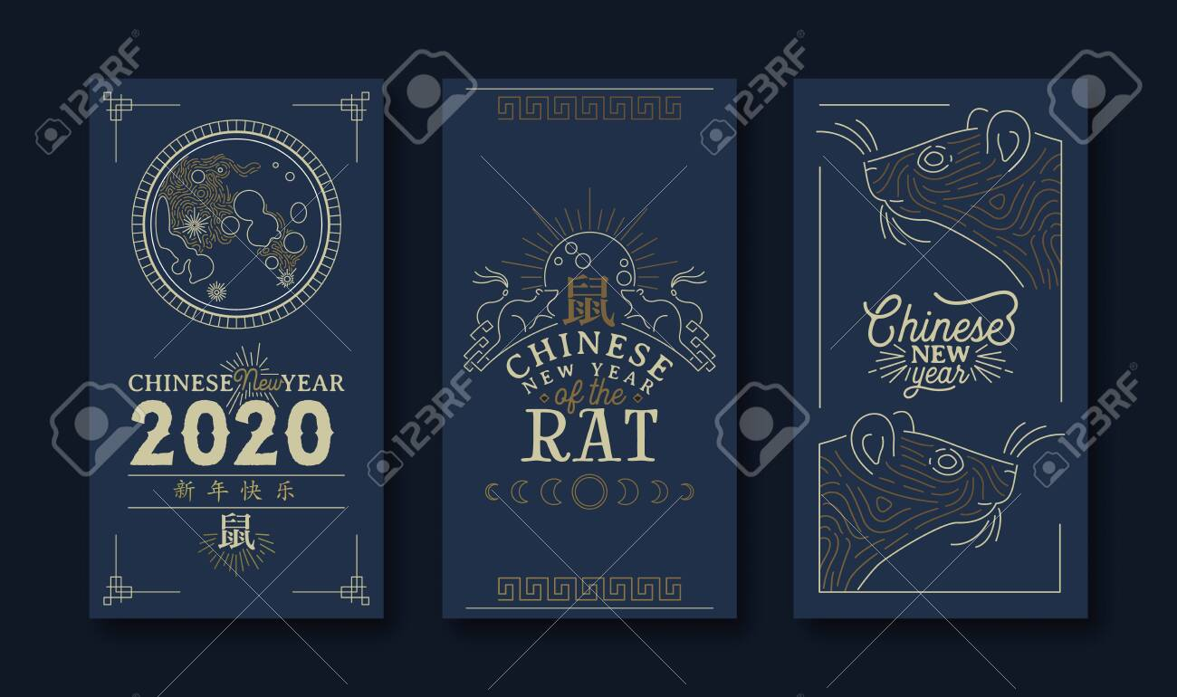 Chinese New Year 2020 greeting card set of gold mouse, traditional astrology decoration in modern line art style with asian quote. Calligraphy symbol translation: rat, fortune, happy holiday message. - 131513694