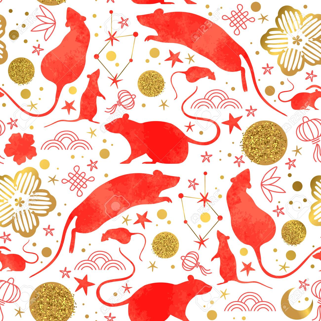Chinese New Year of the rat seamless pattern with red watercolor mouse animals, gold asian culture icons and hand drawn doodles. Traditional lunar festival holiday background. - 131514628