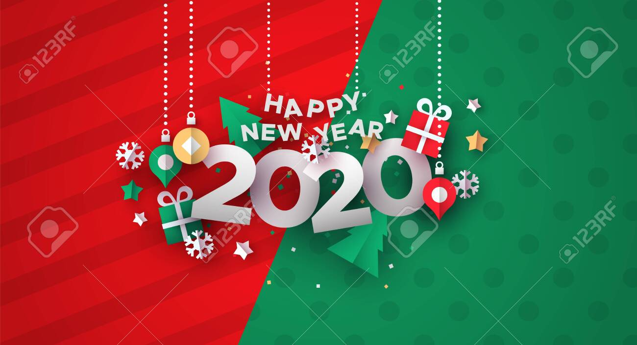 Happy New Year 2020 greeting card illustration of festive holiday papercut decoration. - 131515409