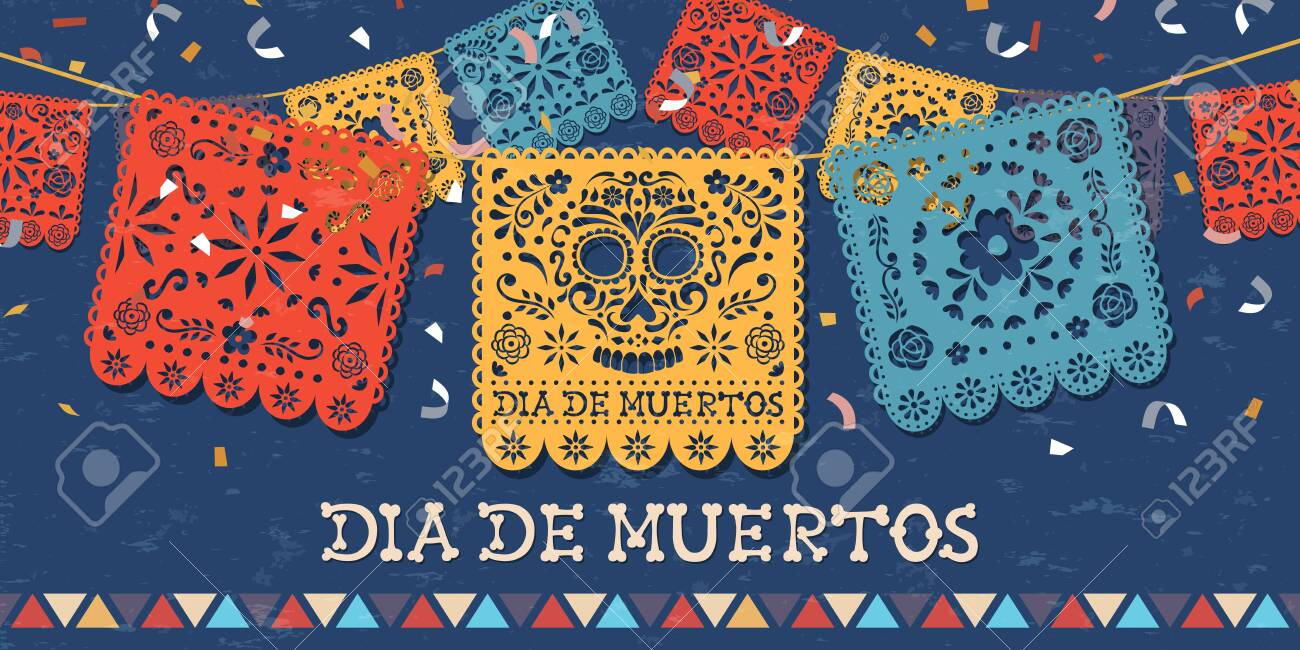 Day of the dead greeting card for mexican celebration, traditional mexico papercut banner decoration with colorful skulls and party confetti. - 131515561