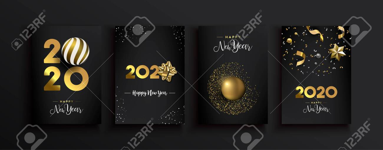 Happy New Year 2020 greeting card set of luxury 3d gold glitter decoration on modern elegant black background. Includes gift ribbon, bauble and festive confetti. - 132470875
