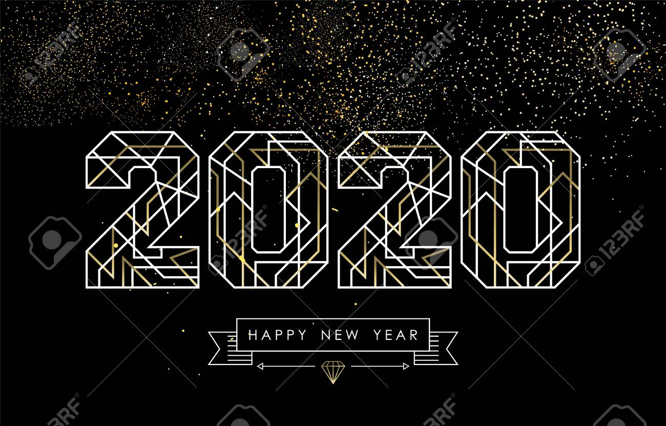 Happy New Year greeting card design in art deco outline style, gold and white 2020 sign with hipster label. Ideal for poster, holiday campaign or web. - 134486358