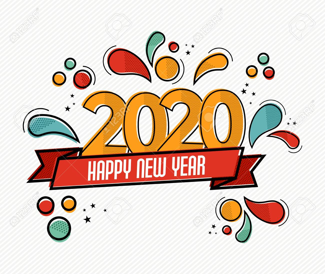 Happy New Year 2020 pop art greeting card illustration of colorful calendar date number with funny comic style decoration. - 134486356