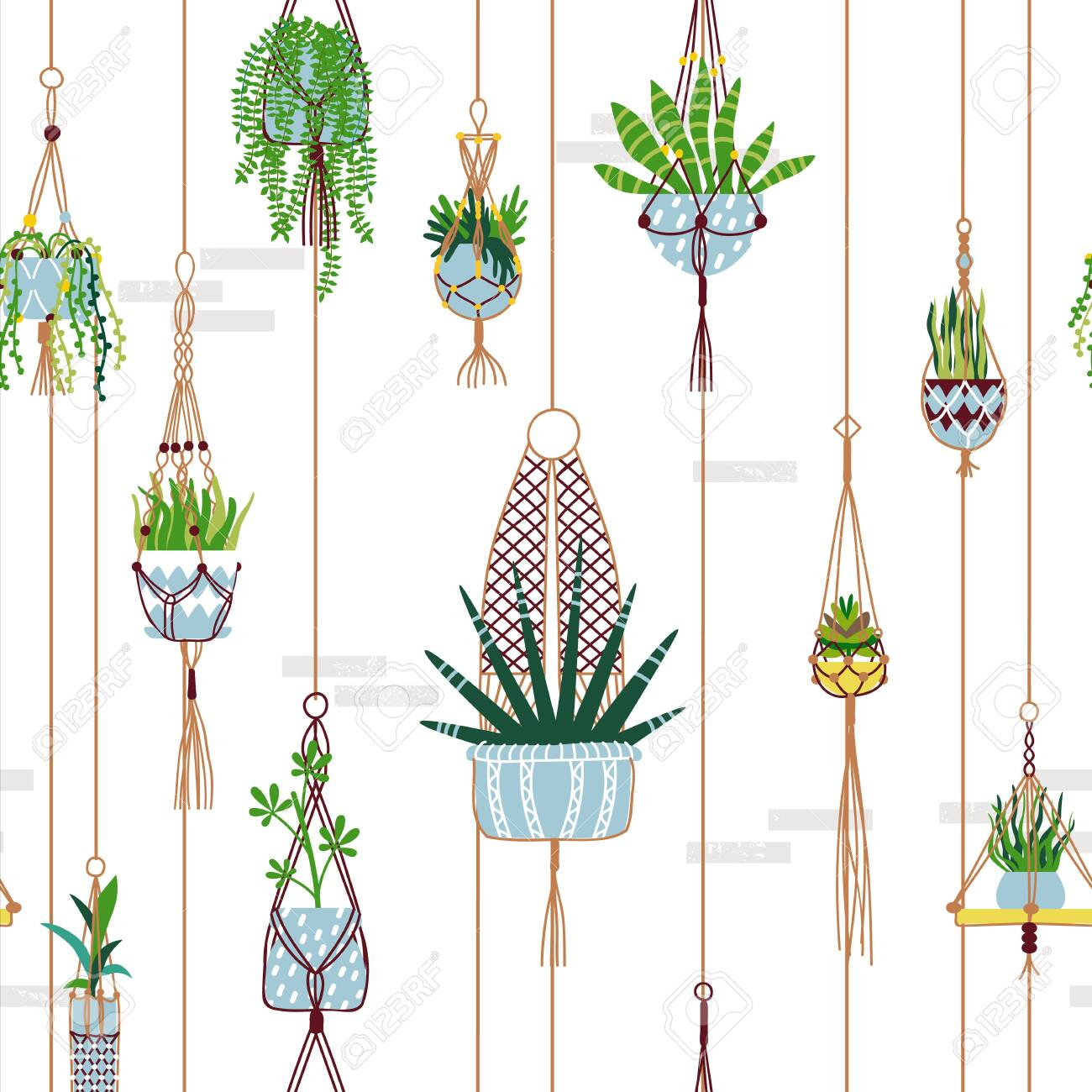 Green House Plant Seamless Pattern Of Modern Macrame Potted Plants Royalty Free Cliparts Vectors And Stock Illustration Image 140692438