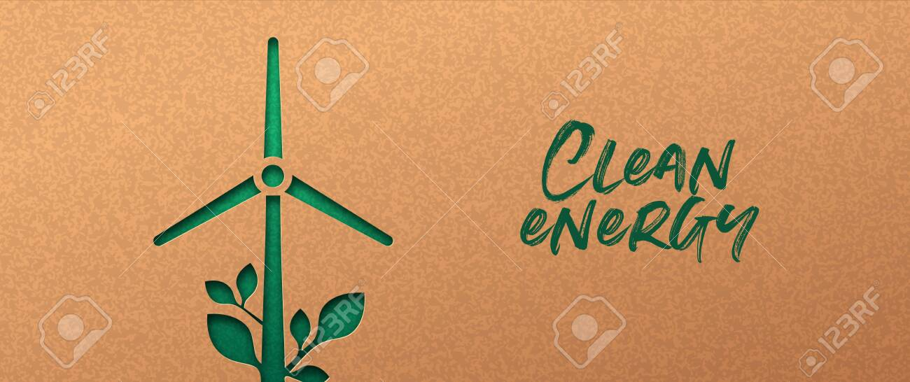 Renewable energy papercut banner with green wind mill turbine icon and plant leaf. Eco-friendly windmill electricity, 3d cutout concept in recycled paper for new clean power technology. - 149591737