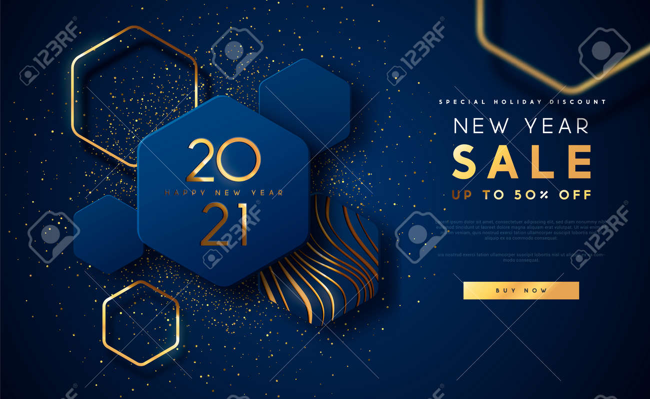 New Year 2021 sale discount web template illustration, luxury 3d geometric shape background with gold abstract shapes on blue backdrop for holiday business promotion. - 161365281