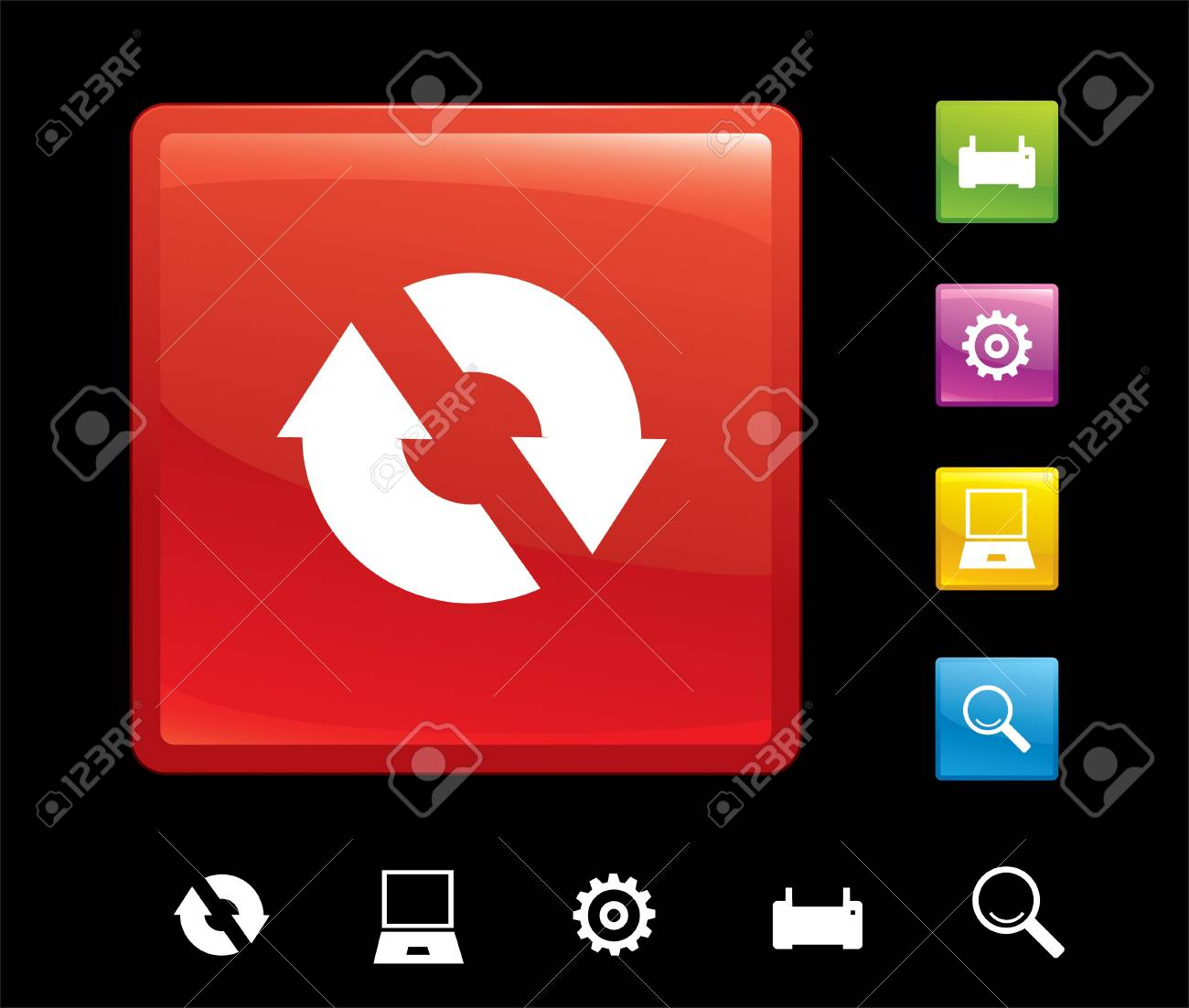 set of buttons with icons for websites of business Stock Vector - 8050566