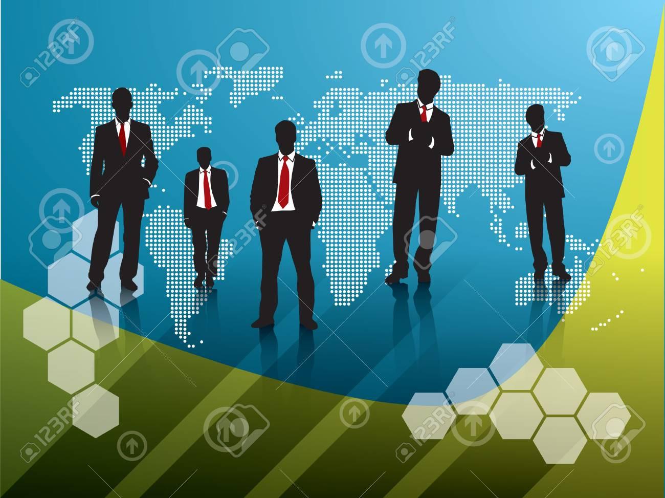 business team orange background Stock Vector - 7877409