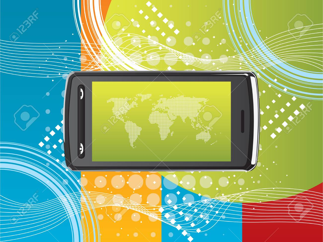 cell phone technology background Stock Vector - 7877338