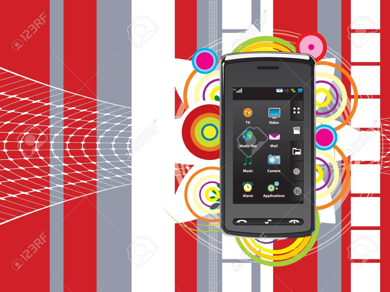 abstract background vector graphics created with cell phone technology in focus Stock Vector - 8060383