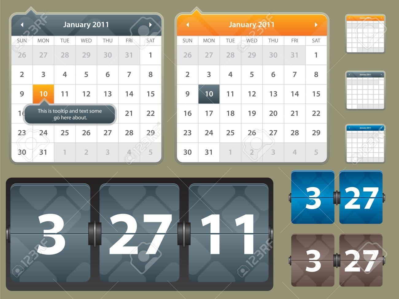 Illustration Of Calendar And Card With Year Date For Website ...