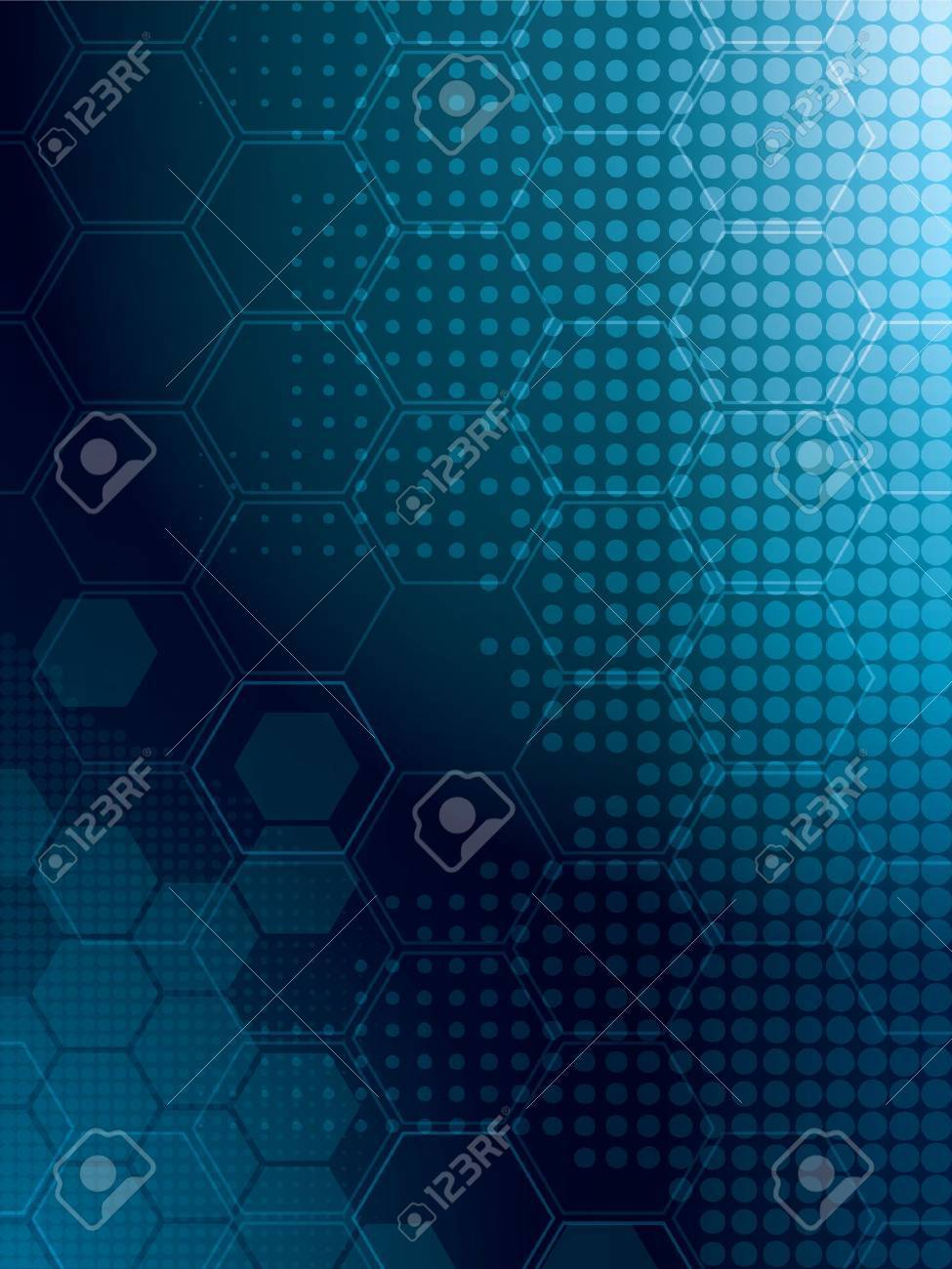 abstract background in blue with rows of hexagonal Stock Vector - 14841356