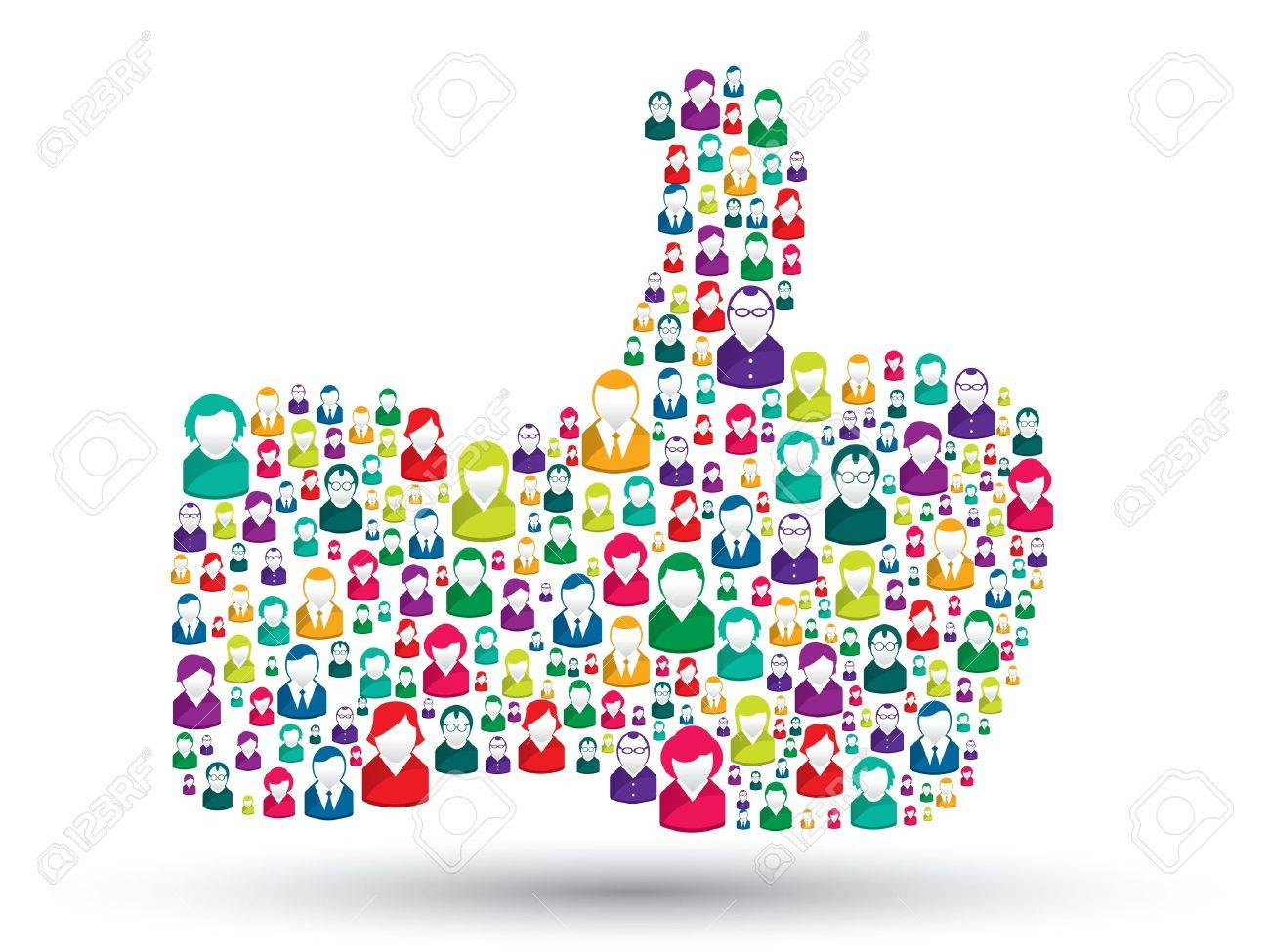 hand icons of people with the symbol of like Stock Vector - 16293318