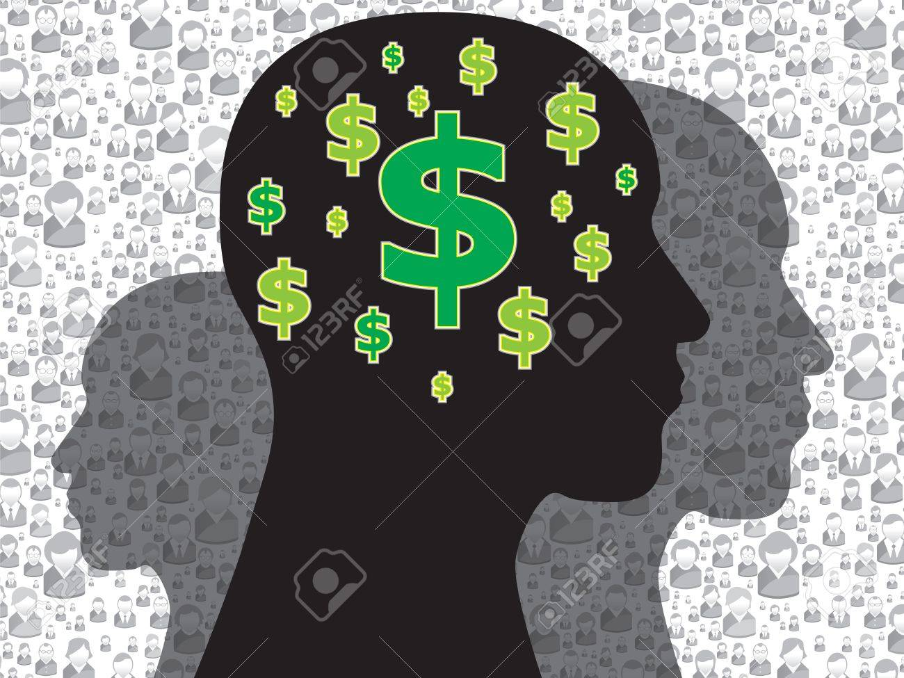 Human head with money symbol on the brain Stock Vector - 20327045