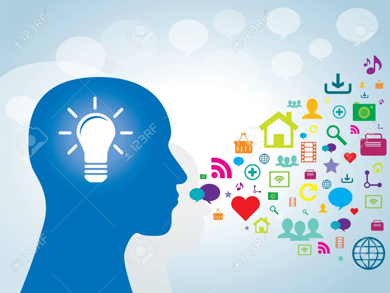 Human head with lamp and icons of technology for communication - 35811384
