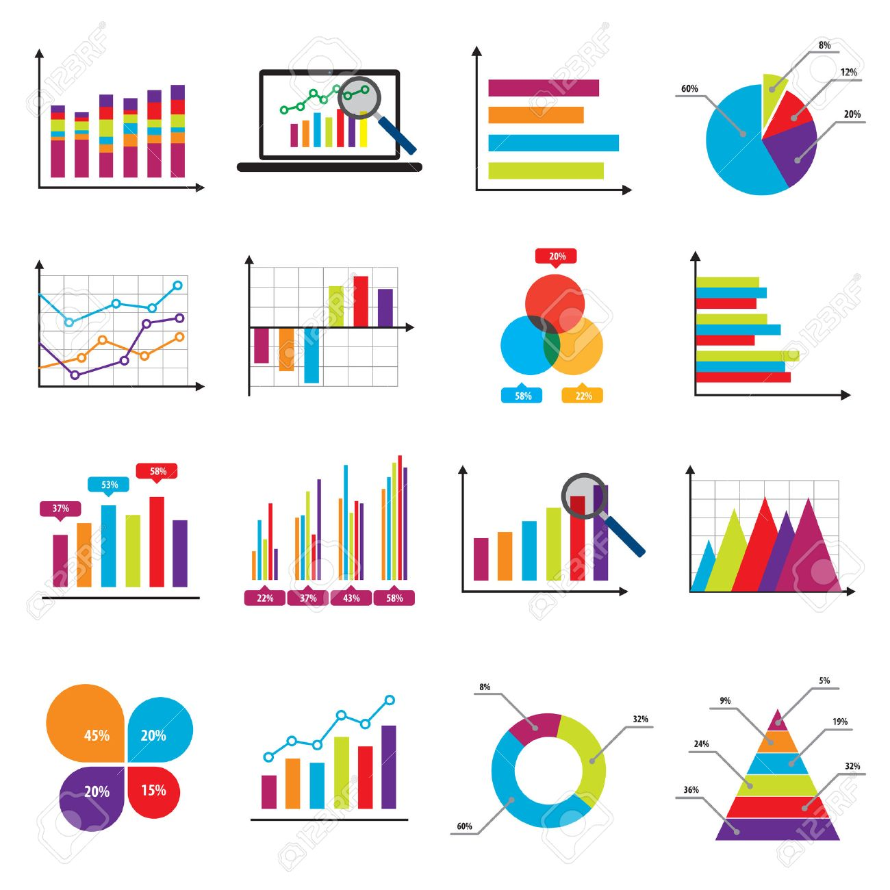 business data market elements bar pie charts diagrams and graphs    vector   business data market elements bar pie charts diagrams and graphs flat icons in vector illustration