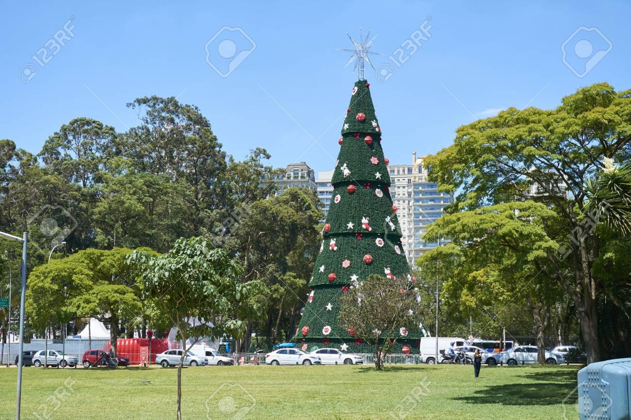Brazil Christmas Traditions.Sao Paulo Brazil December 6 2016 Traditional Christmas Tree