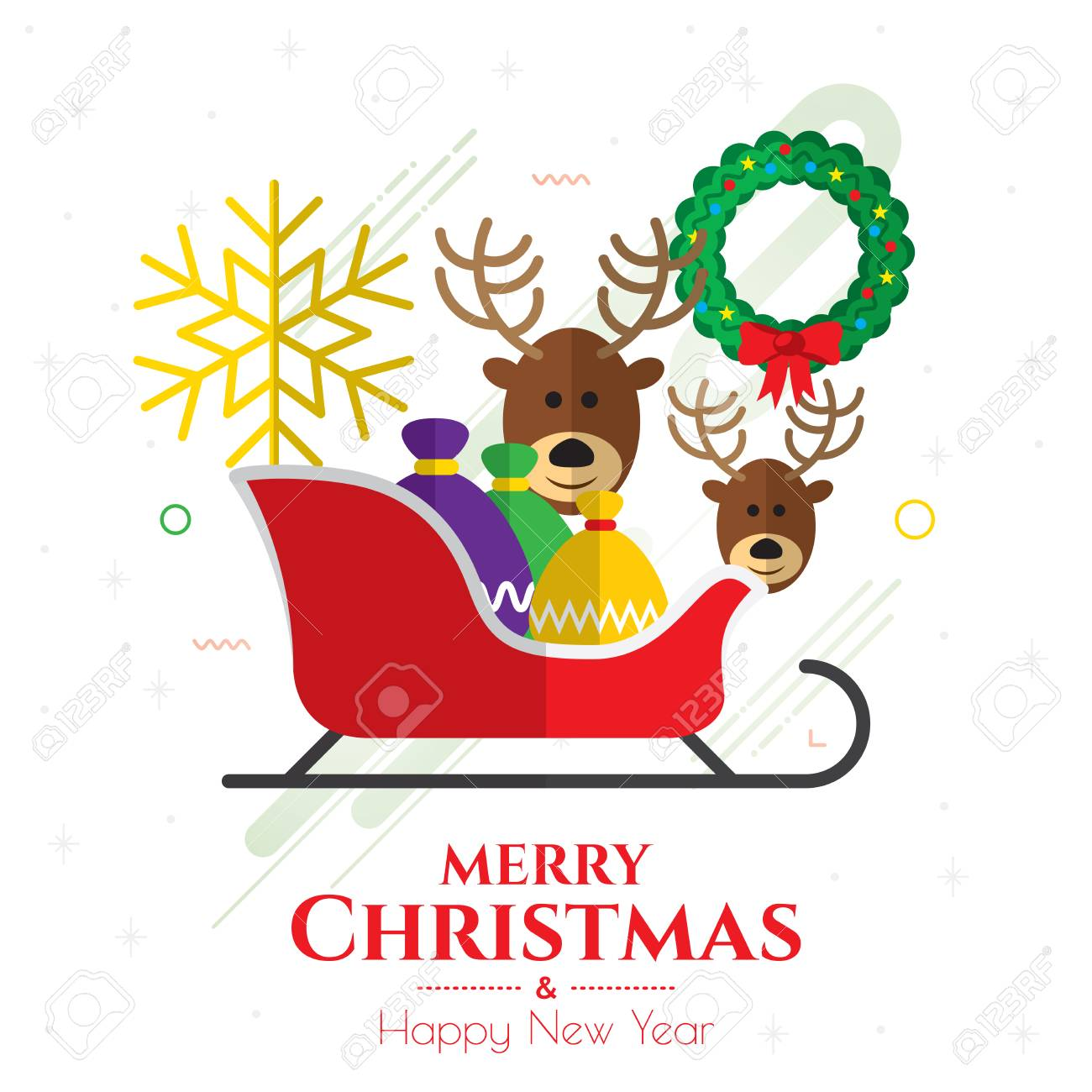 merry christmas and happy new year banner stock vector 91463212