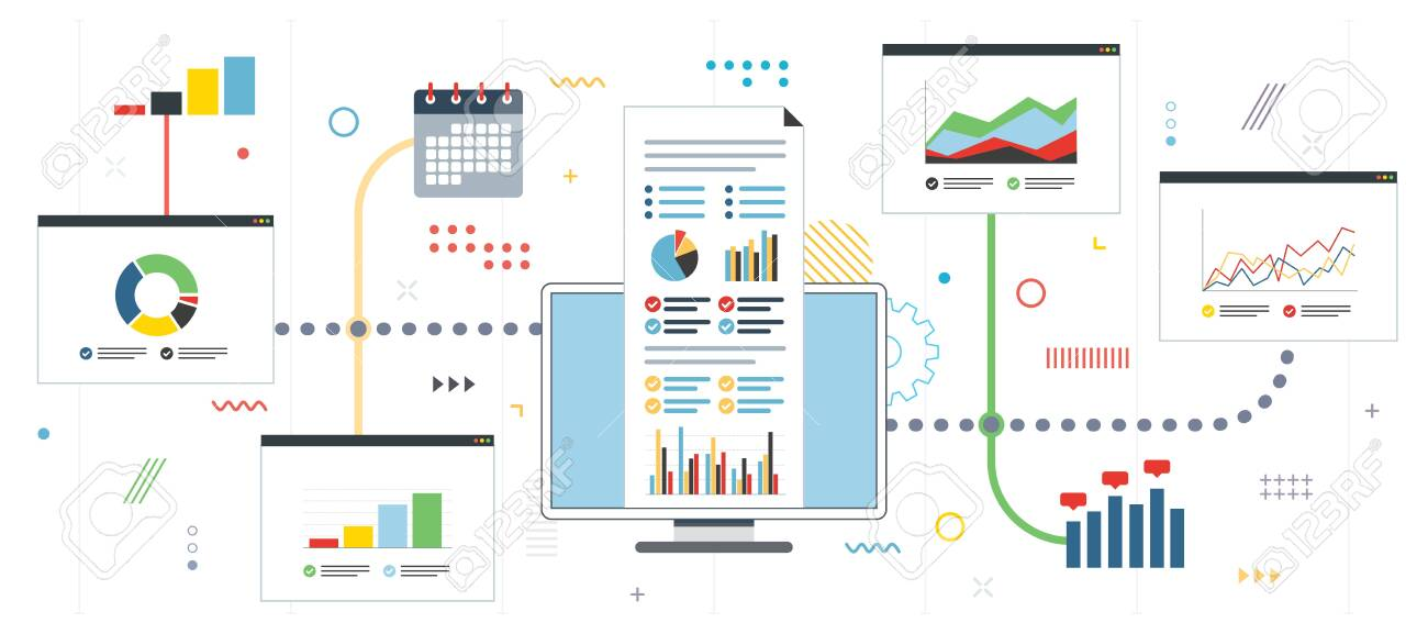 Strategy and monitoring of gains in financial market. Chart or diagram in application for monitoring with growth report. Template in flat design for web banner or infographic in vector illustration. - 121880285