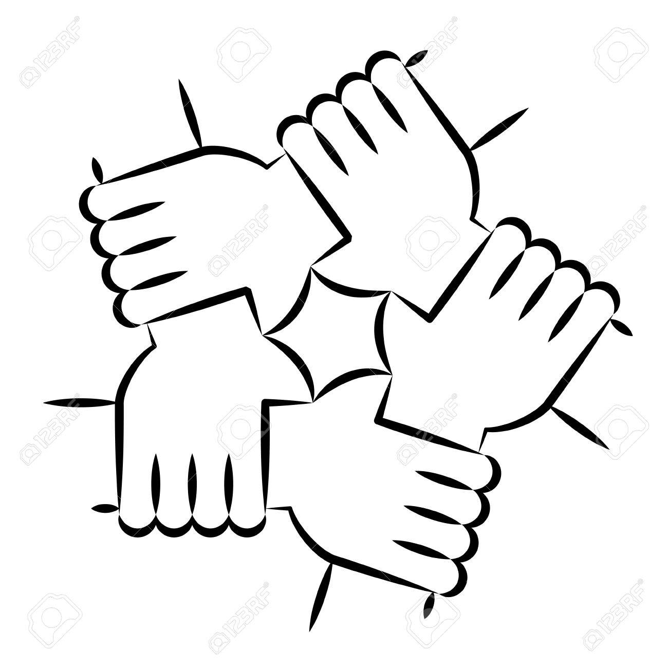Vector Illustration Of Five Human Hands Holding Eachother For Royalty Free Cliparts Vectors And Stock Illustration Image 72797956