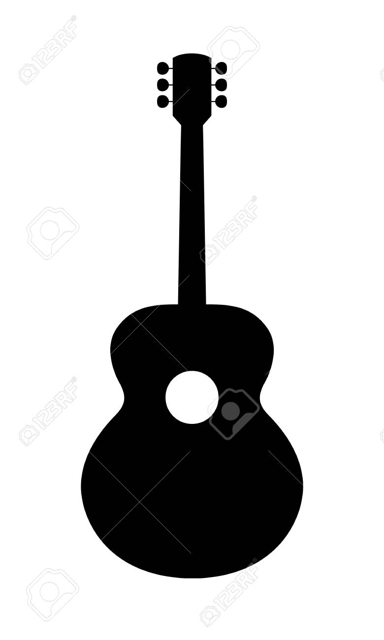 acoustic guitar silhouette vector illustration of hand drawn rh 123rf com guitar man silhouette vector bass guitar silhouette vector
