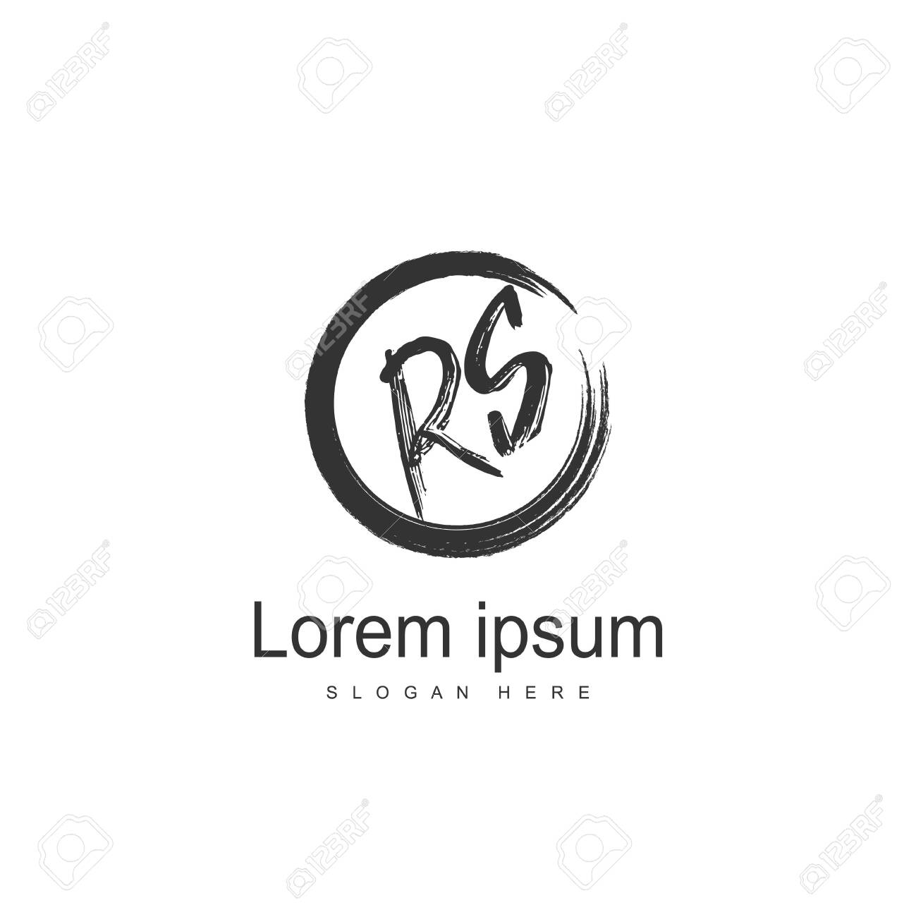 Initial RS Logo Template. Minimalist letter logo template design - 128777049